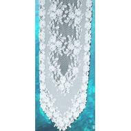Table Runner Tea Rose14x60 White Heritage Lace