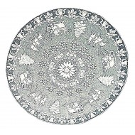 Table Topper Santa Sleigh 44 Round White Oxford House
