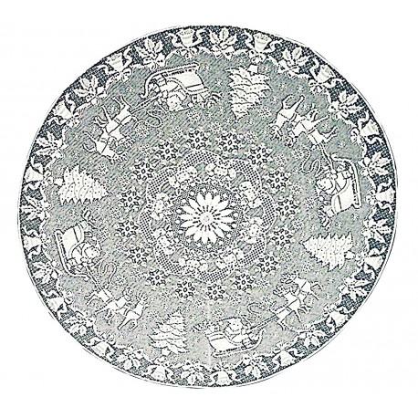 Table Topper Santa Sleigh 44 Round White Oxford House