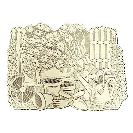 Garden Scene 13x19 Ivory Placemat Or Doily Set Of (4)