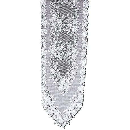 Tea Rose 14x72 White Table Runner Heritage Lace