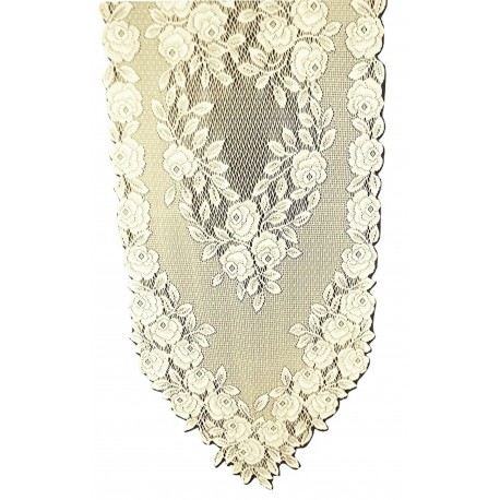 Tea Rose 14x48 Ecru Table Runner Heritage Lace