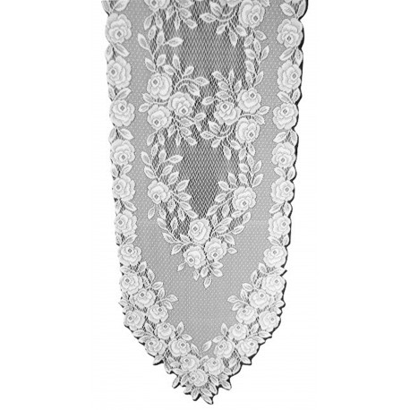 Tea Rose 14x48 White Table Runner Heritage Lace