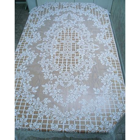 Tablecloths Trellis Rose Rectangle 60x84 White Oxford House