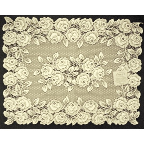 Placemat Tea Rose 14x20 Ecru Set Of (4) Heritage Lace