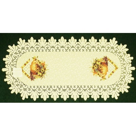 Table Runner Abundant Blessings 14x30 Ecru Heritage Lace