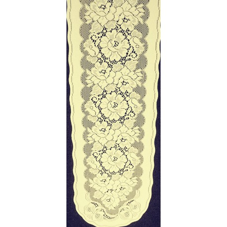 Roses n Bows 14x70 Ivory Table Runner Oxford House