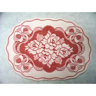 Placemat Roses n Bows 13x19 White On Red Set Of (4) Oxford House