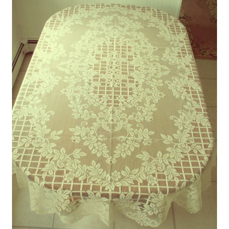 Tablecloth Trellis Rose 60x104 Rectangle Ivory Oxford House
