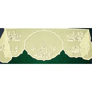Mantel Scarf Nativity 20x94 Ivory