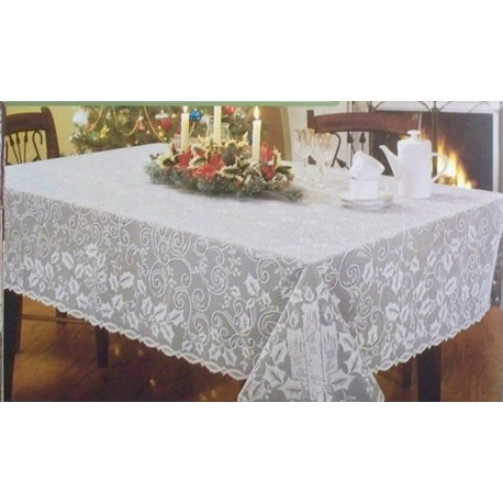 Tablecloth holly glow holiday table linens 52x70 white for Table linens 52 x 70