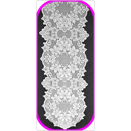Cleremont 14x72 White Table Runner Heritage Lace
