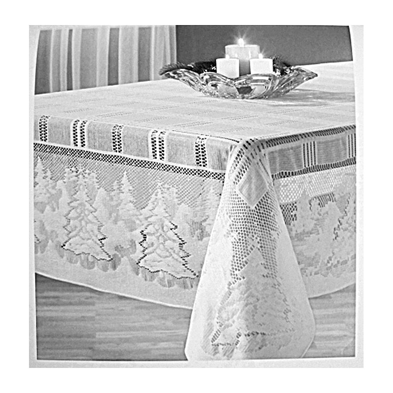 Tablecloth Winteru0027s Eve 60x60 Square White Oxford House