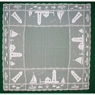 Harbor Lights 42x42 White Table Topper Heritage Lace