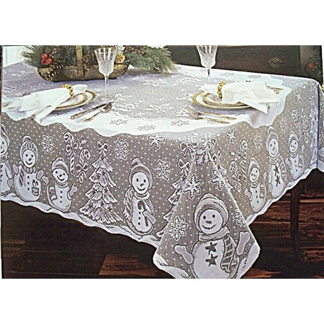 Tablecloth Snowman Family 60x104 White Rectangle Heritage Lace