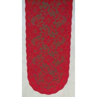 Poinsettia 13x36 Red/Green Table Runner Heritage Lace