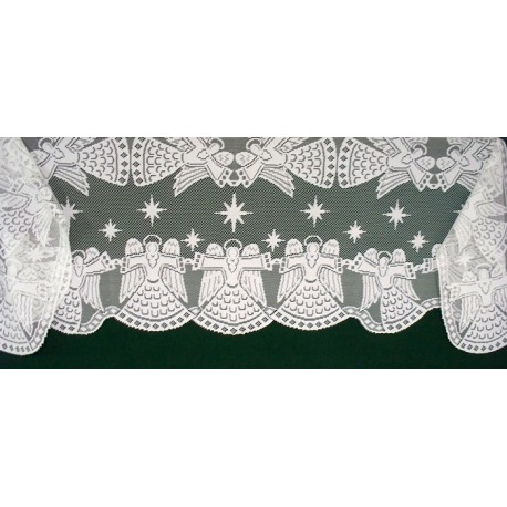 Mantel Scarf Glorious Angel 20x90 White Heritage Lace