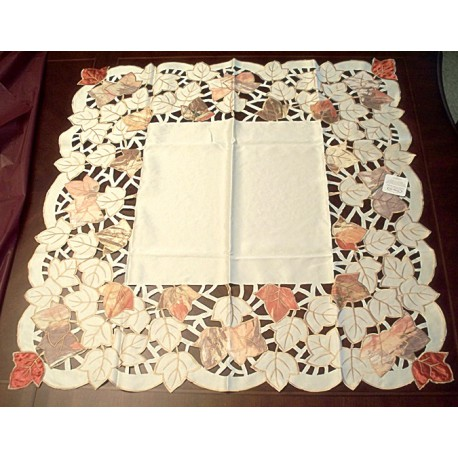 Autumn Elegance 34x34 Cream Table Topper Heritage Lace