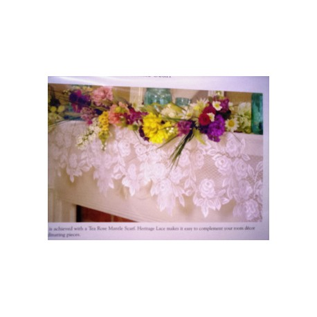 Tea Rose 20x90 White Mantel Scarf Heritage Lace