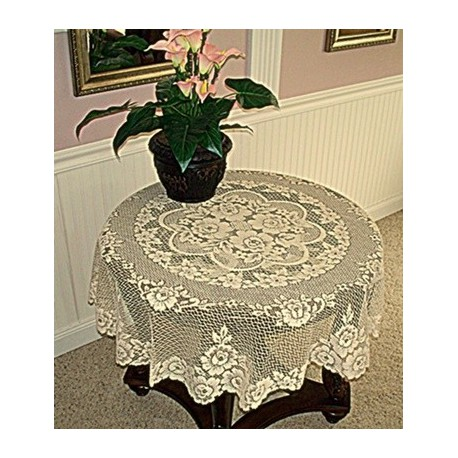 Victorian Rose 43 Inch Round Ecru Table Topper