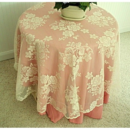 Tablecloth Round Rose Bouquet 70 Round Ivory Oxford House
