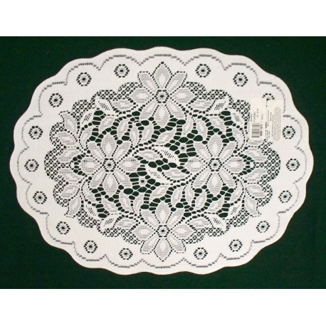 Placemats Poinsettia 13x19 White Set Of (4) Heritage Lace