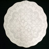 Doily Poinsettia 13 Round White On White Set Of (3) Oxford House