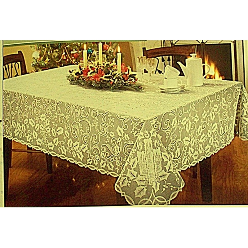 Tablecloth holly glow 52x70 ivory oxford house elegance for Table linens 52 x 70
