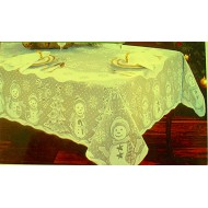 Snowman Family 60x82 Rectangle Ivory Tablecloth heritage Lace