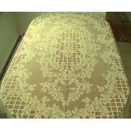 Tablecloth Trellis Rose Rectangle 60x84 Ivory Oxford House