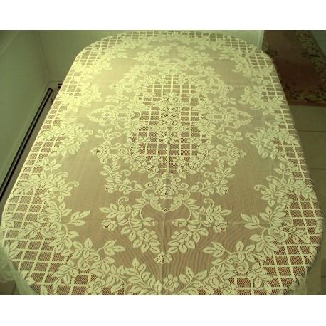 Tablecloth Trellis Rose Rectangle 60x84 Ivory Oxford House
