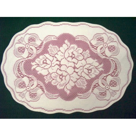 Placemats Roses n Bows Off White Mauve 14X19 Set Of (4) Heritage Lace