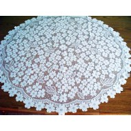 Table Topper Dogwood 42 Inch Round White Heritage Lace