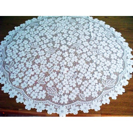ogwood 42 Inch Round White Table Topper Heritage Lace