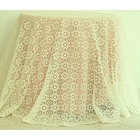Tablecloth Nova 90 Inch Round Ivory Heritage Lace