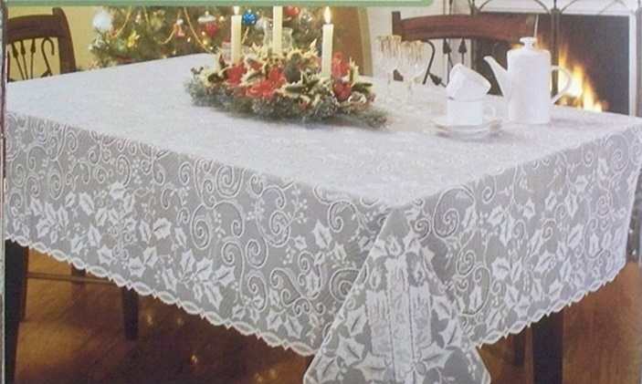 Tablecloth Holly Glow 60x60 White Heritage Lace Elegance